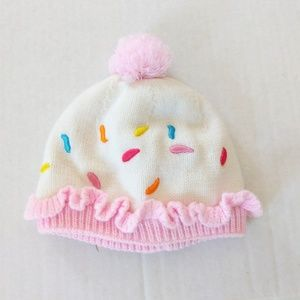 Curls & Pearls White Knit Fleece Lined Toddler Hat